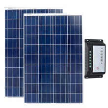 Solar Set 200w Panel 12v  100w w 2 Pcs PWM Controller 12v/24v 20A Caravan Car Camping Battery Charger Boat