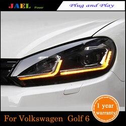 JAEL LED المصباح للجولف 6 MK6 المصباح 2009-2013Year المصابيح الأمامية LED DRL تشغيل أضواء ثنائية زينون شعاع أضواء عيون الملاك