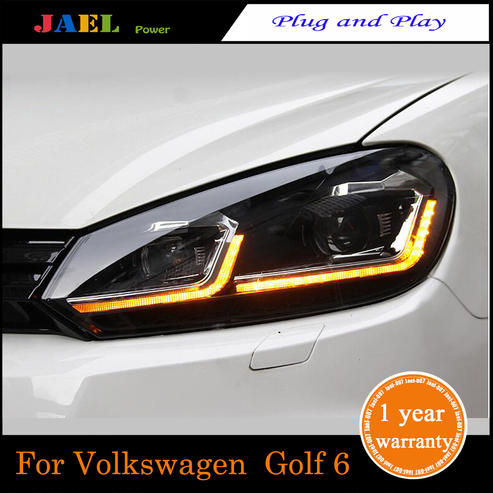 JAEL LED Headlight For Golf 6 MK6 Headlight 2009-2013Year Headlights LED DRL Running Lights Bi-Xenon Beam Lights Angel Eyes