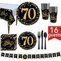 OOTDTY 70th Fontes do Partido de Aniversário 114 Pcs Serve 16 Inclui Preto e Ouro Bandeira Toalha de Mesa Descartável Colheres Garfos Facas