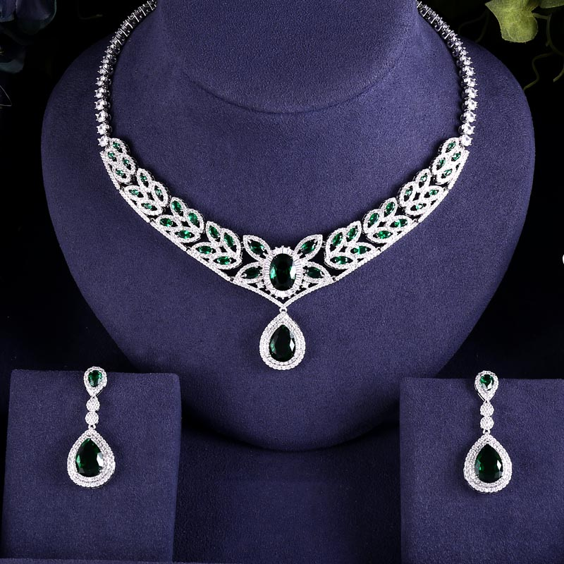 EARRINGS NECKLACE ACCESSARIES ZIRCON Bridal-Jewelry-Set Wedding-Dress CRYSTAL GREEN BRILLIANT
