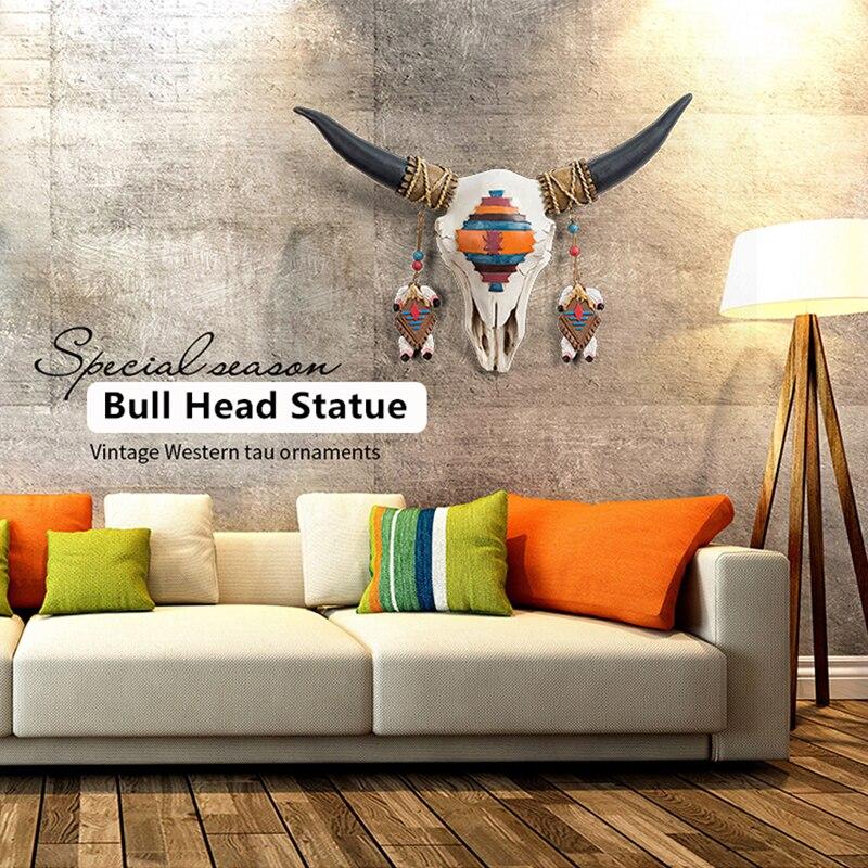 3D Bull Head Circle Art Wall Sculpture Statue Just6F
