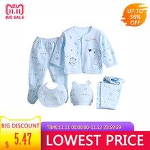 Комплект белья для малышей из 5 предметов, дышащий хлопковый Детский комбинезон с шапочкой, 2 пары штанов