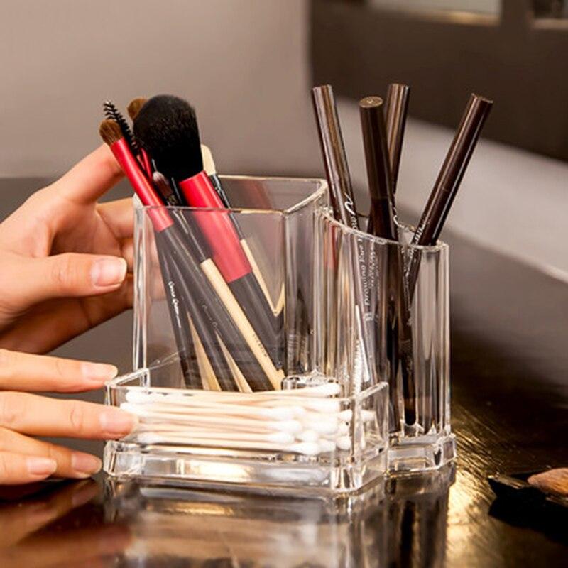 Transparent Makeup Brush Storage Box Organizer Acrylic Cosmetics Manager Jewelry Storage Box Office Supplies Business Card