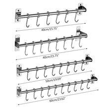 Trilho de suspensão de aço inoxidável montado na parede da cremalheira do utensílio da cozinha com 6/8/10 ganchos 53cb