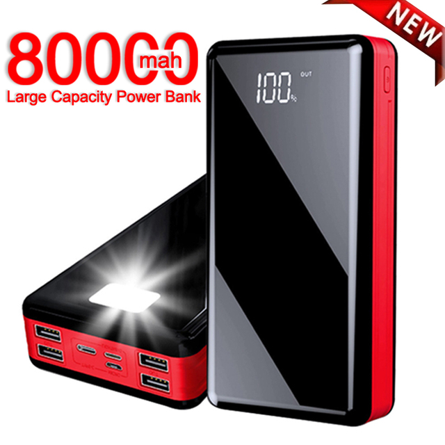 80000 mAh High Capacity Power Bank Mobile Phone Fast Charger Portable Travel Powerbank for Xiaomi Samsung IPhone Poverbank 1