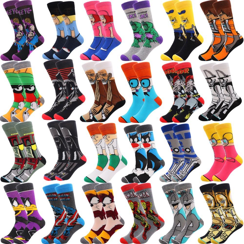 1 Pair Drop Shipping Winter Spring Happy Socks 2018 Cotton Men Crew Skateboard Socks Funny Pattern Wedding Socks Gift