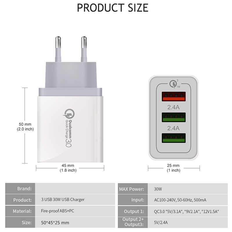 Chargeur universel rapide 30W adaptateur USB chargeur pour iPhone 7 8 6 6S 5 5S X Samsung huawei Xiaomi EU US Plug chargeur de téléphone portable
