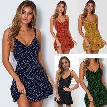 S-3XL Boho Point Floral Slip Dress for Women Sexy V Neck Cami Dresses Fashion 5 Colors