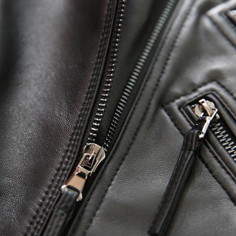 ZURICHOUSE 3XL Genuine Leather Jacket Women Short Classic Black Moto Biker Jacket Women's Top Quality Natural Sheepskin Coat