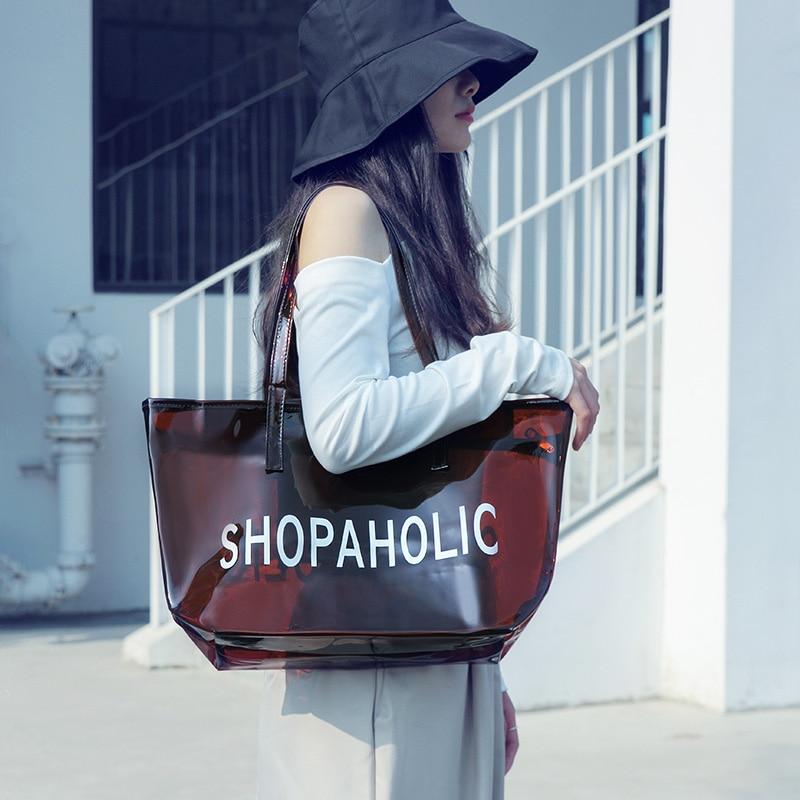 Clear Shopping Handbags Large Capacity PVC Jelly Transparent Bag Sport Wear Clear Purse Event Stadium Travel Beach Bags