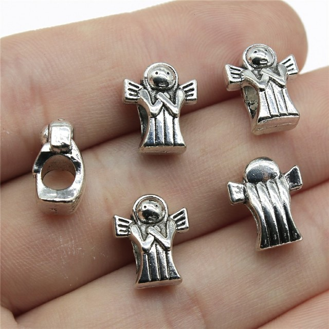 antique silver angel charms Jewelry findings wholesale zb0 6027 50pcs 12x25mm Pendant trays