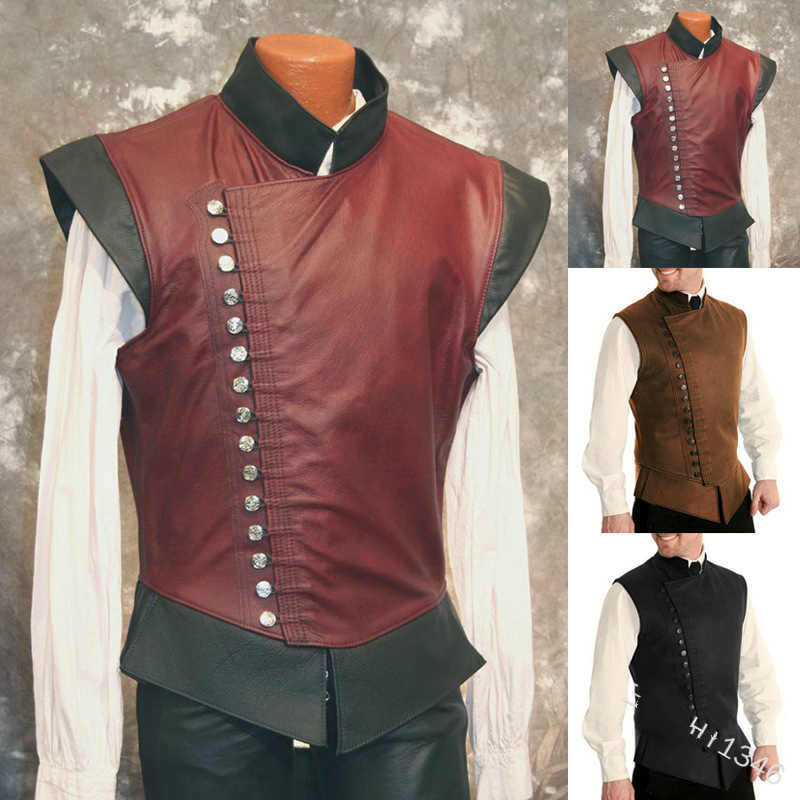 Mens Vintage Suede Jerkin Sleeveless Lace Up Waistcoat Knight Leather Armor Pirate Tunic