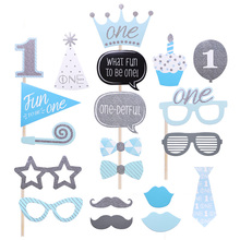 One Year Old Birthday Party Photo Booth Props Masks Hat Mustache Lip Glasses Photo Booth Frame Baby Shower Decoration Supplies стоимость