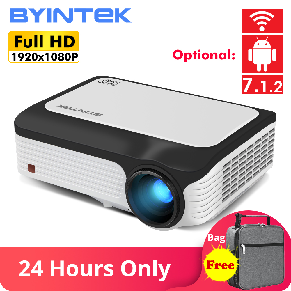 BYINTEK M1080 Inteligente (2GB + 16 GB) android WIFI FULL HD 1080P LED Portátil Mini Projetor 1920x1080 de Vídeo LCD Para Iphone Para Netflix