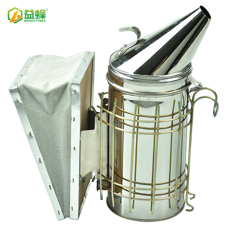 Yi Feng Beekeeping Tools Wholesale Cowhide Stainless Steel Smoker Pointed-Toe Smoke Maker Aerosol Spraying Kettle Drive Bees
