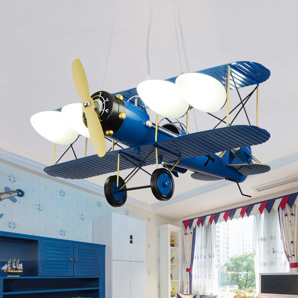 Children's Room Airplane Pendent Lamp Lights Cartoon Bedroom Boys Hanging Lamp Creative Light For Kids Nursery School HangLamp