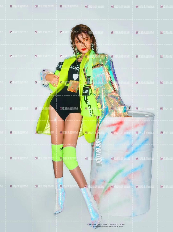 Hologramme paillettes femmes à la mode desserrer veste Bling Laser manteaux réfléchissants Punk danse Hip Hop veste annonces modèle holographique ensemble - 2