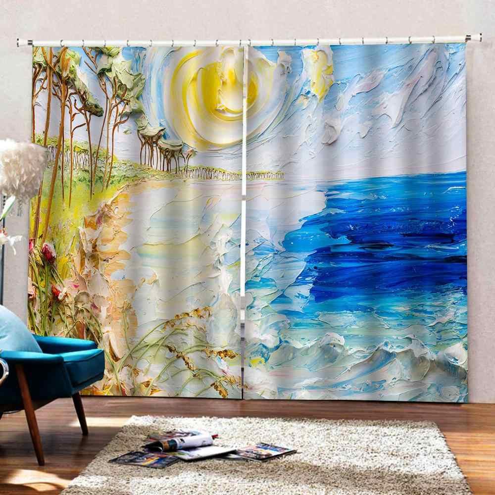 Finestra di Blackout Tende 3D Olio Stampato Tende Per La Camera Da Letto Paesaggio Spiaggia Tende Per Complementi Arredo per le finestre