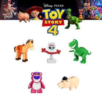 Toy Story 4 Forky figurki Gremlins Gizmo Stitch Mario Alien E T Z Elliot budynku klocki dla dzieci tanie i dobre opinie Z tworzywa sztucznego Don T Eat Film i telewizja 3 lat Unisex Building blocks toys Self-Locking Bricks