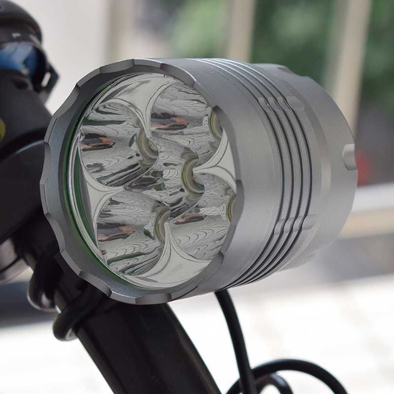 <font><b>7000</b></font> <font><b>Lumens</b></font> <font><b>Bicycle</b></font> Headlight Waterproof 5*T6 Bike Front <font><b>Light</b></font> Aluminum Alloy 3 Modes 18650 Battery Cycling Flashlight Lamp image