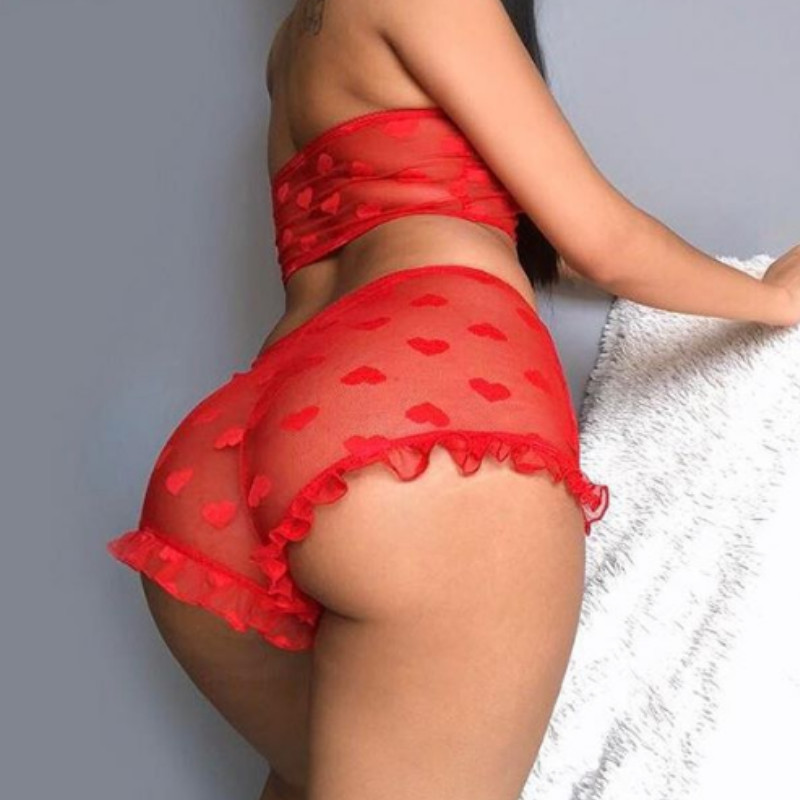 Women Sexy Lace Mesh Lingerie Set Erotic Red Bandeau See Through Babydoll Racy Temptation Lenceria Erotica Mujer Underwear