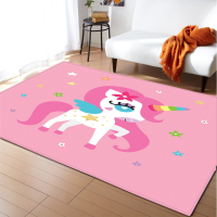 Cartoon Pink Carpet Area Rugs Flannel Memory Foam Bedroom Rugs and Carpets Unicorn Kids Carpet for Living Room Modern