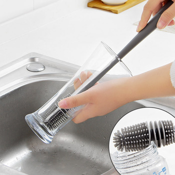 Bottle Brush Cup Scrubbing Silicone Kitchen Cleaner For Washing Cleaning With Handle Utensils Glass