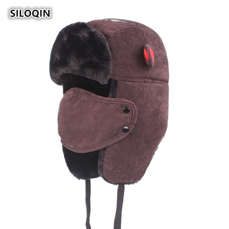 SILOQIN Unisex Winter Plus Velvet Keep Warm Thicken Bomber Hat Ear Protection Face Outdoor Motion Windproof Ski Cap Casquette in Men 39 s Bomber Hats from Apparel Accessories