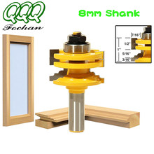 Qqq 1 pc 8mm haste de vidro porta ferroviário & stile reversível roteador bit madeira ferramenta corte bits roteador