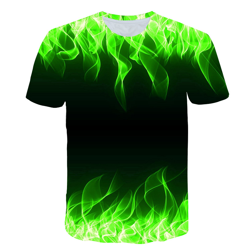 2019 Hot Sales Men's New Summer T-shirt With Round Neck Short Sleeve Blue Green Red Purple Flame 3D Printed Top High Quality