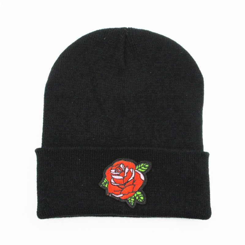 Gül çiçek nakış kalınlaşmak örme şapka kış sıcak şapka Skullies kap bere şapka çocuk için erkekler ve kadınlar 188