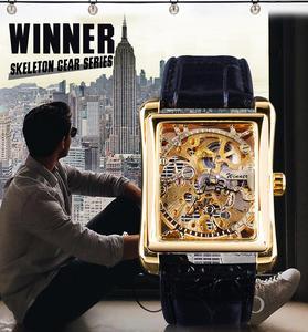 Image 2 - Winner 2017 Retro Casual Series rectángulo diseño de esfera patrón dorado hueco esqueleto reloj de los hombres de la mejor marca de lujo mecánico