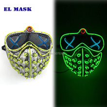 GZYUCHAO EL Watch Dogs Wire Mask Cosplay Neon Light Up Glow In Dark Flashing For Halloween Carnival Parties