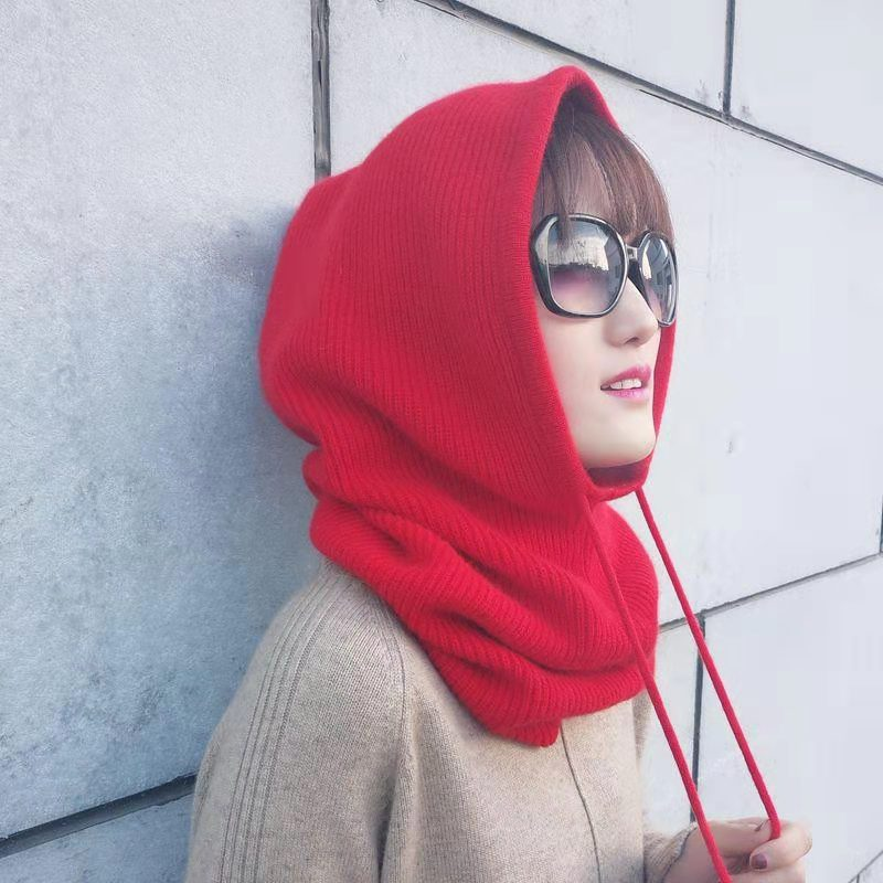 Women Winter   Beanie   Hat Cashmere Female Knitted Hooded Scarf Balaclava for Women Windproof Warm Wool Cap