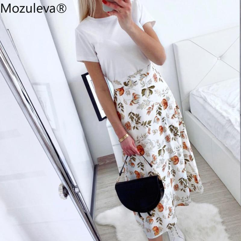 Mozuleva 2021 Spring Summer High Waist Chiffon Women Midi Skirts Casual Floral Print Female Skirt Maxi Beach Tutu Skirt femme