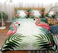 Flamingo Bedding Set Birds Duvet Cover Set Palm Leaf Bed Linen Pink Green Bed Set Kids Home Textile Tropical Plant Bedclothes