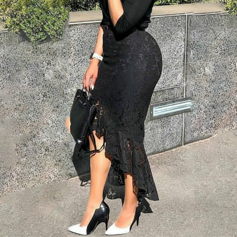 Women Black Lace Skirt High Waist Slim Midi Modest Classy Irregular Length Female Package Hip Jupes Falad Office Elegant Fashion