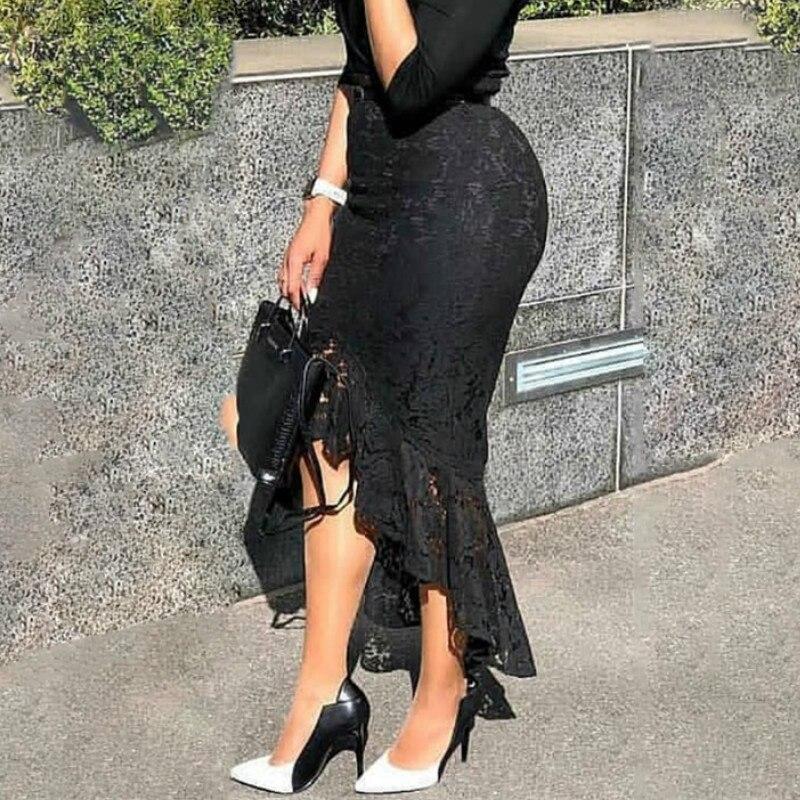 Women Black Lace Skirt High Waist Slim Midi Modest Classy Irregular Length Female Package Hip Jupes Falad Office Elegant Fashion