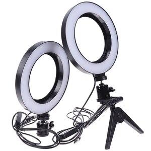 Image 4 - Светодиодная кольцевая лампа для селфи 16 см с регулируемой яркостью для камеры, кольцевая лампа для телефона, 6 дюймов, настольные штативы для макияжа, видеостудии