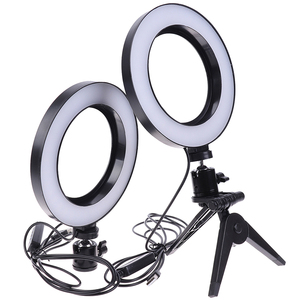 Image 4 - Photography LED Selfie Ring Light 16CM Dimmable Camera Phone Ring Lamp 6inch With Table Tripods For Makeup Video Live Studio