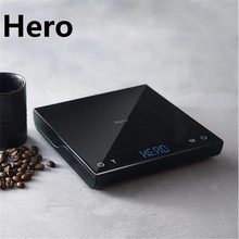 Hero Digital Coffee Scale with Timer 3KG/0.1g USB Charging Smart Electronic Scales Household Kitchen Scale with Silicone Pad