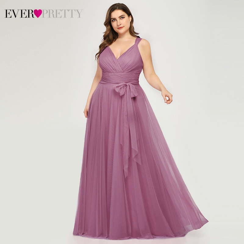 Ever Pretty   Prom     Dresses   Plus Size A-Line V-Neck Bow Sashes Elegant Occasion   Dresses   For Women Tulle Gowns Abiye Gece Elbisesi
