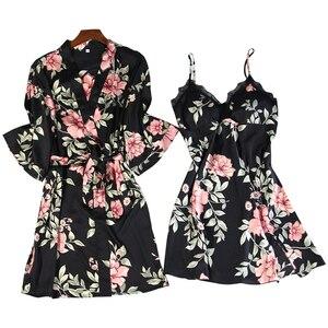 Image 5 - שחור אביב חדש נשים 2pcs חלוק חליפת הלבשת מזדמן הבית ללבוש פיג מה סקסי רצועת Nightwear שינה קימונו אמבט שמלה סטים