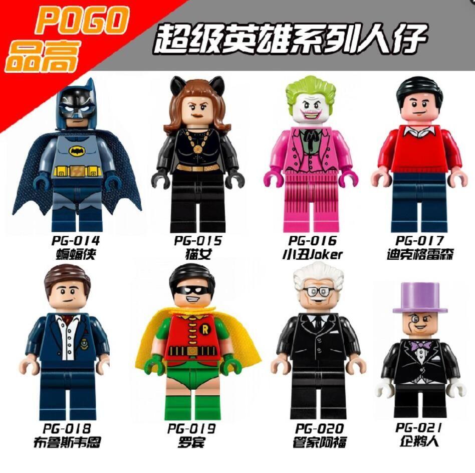 PG8009 Heroes Batman Classic TV Series-Batmancave Robin Alfred Penguin Joker Dick Grayson Wayne Building Blocks Kids Toys