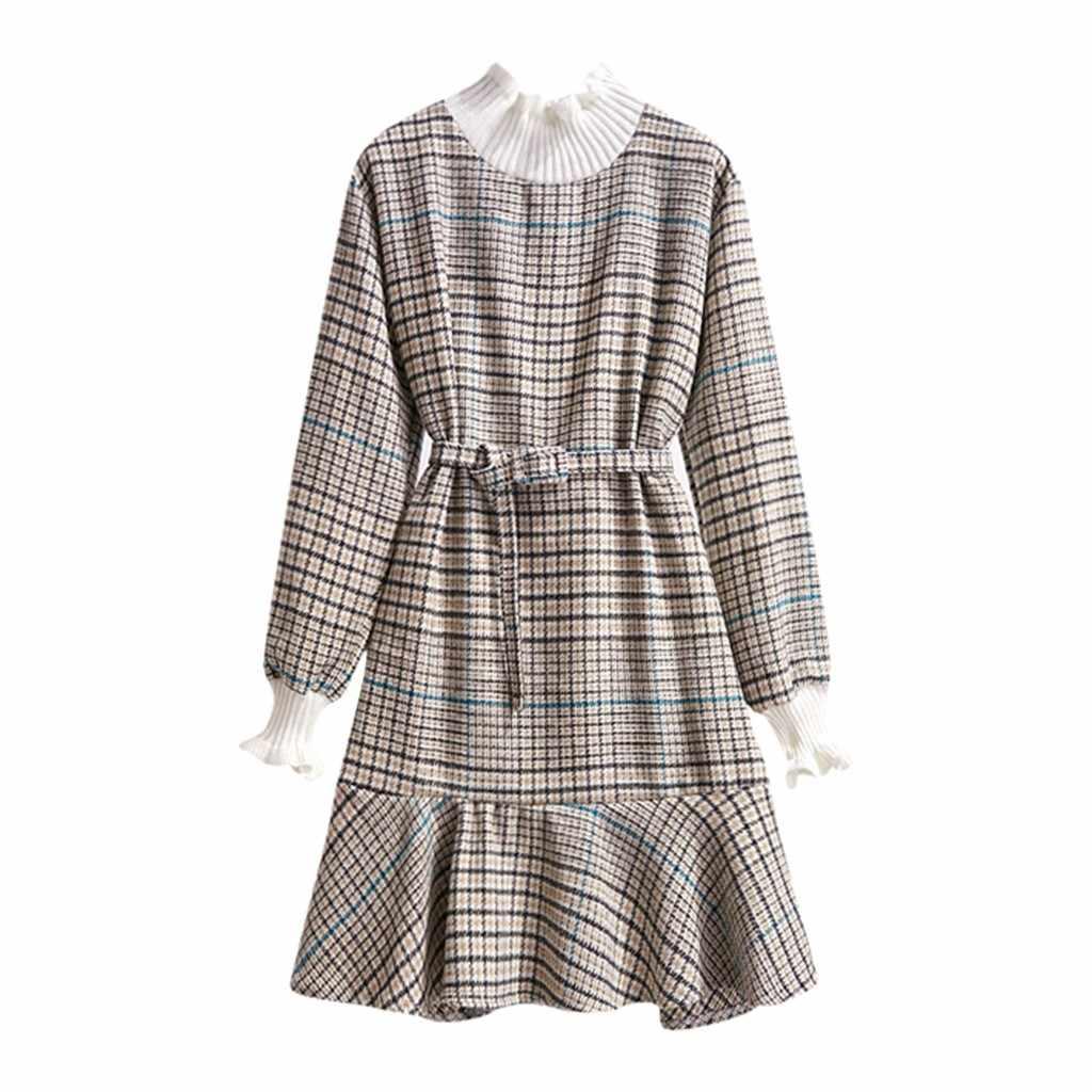 Ekose baskılı elbise kadınlar uzun kollu elastik bel bandaj elbiseler 2019 sonbahar kış resmi elbise kadınlar zarif Sundress