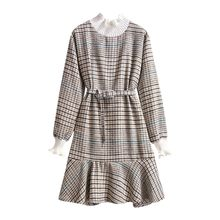 Plaid Printed dress Women Long Sleeve Elastic Waist Bandage Dresses 2019 Autumn Winter Formal Dress Women Elegant Sundress(China)