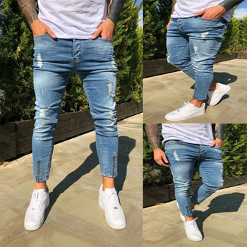 Stretchy Cropped Pants Men Brand New Destroyed Ripped Biker Jeans Casual Slim Fit Skinny Pencil Pants Designer Denim Trousers 2016 new arrived men s biker jeans bule casual slim distressed denim hiphop pant for male hots jean designer skinny trousers