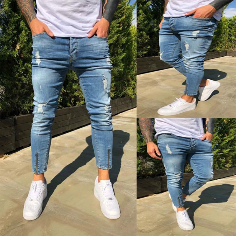 Stretchy Cropped Pants Men Brand New Destroyed Ripped Biker Jeans Casual Slim Fit Skinny Pencil Pants Designer Denim Trousers