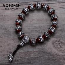 Tibetaanse Om Mani Padme Hum Armband Natuurlijke Lobulair Rood Sandelhout Ingelegd 999 Sterling Zilveren Boeddha Mantra Voor Mannen Vrouwen Liefhebbers